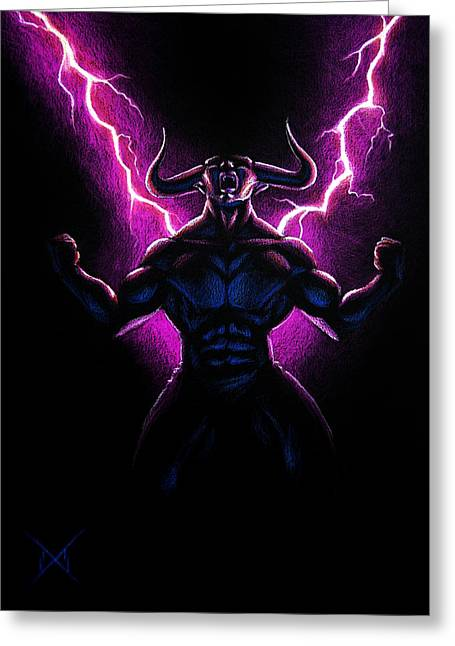 Anger Drawings Greeting Cards - Rage Greeting Card by Michael Wheeler