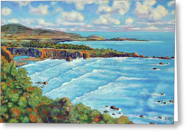 Coast Highway One Paintings Greeting Cards - Ragged Point California Greeting Card by Dwain Ray