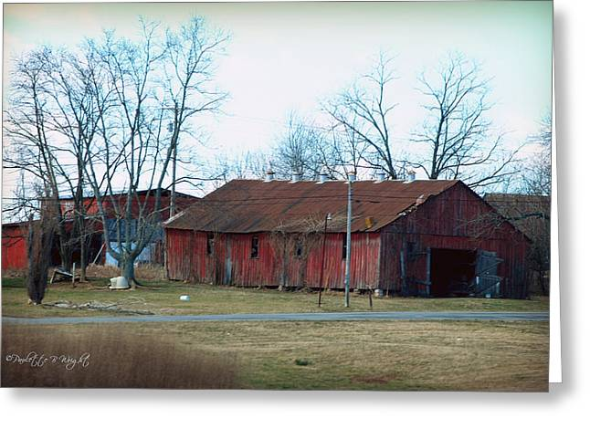 Shed Digital Art Greeting Cards - Ragged Red Shed I Greeting Card by Paulette B Wright