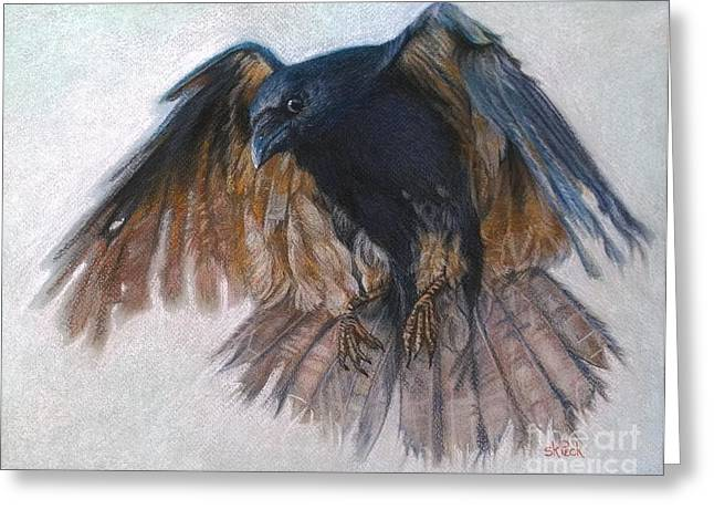 Raven Pastels Greeting Cards - Ragged Ruffian Greeting Card by Susan Kathryn Peck