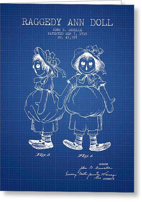 Vintage Dolls Greeting Cards - Raggedy Ann Doll patent from 1915 - Blueprint Greeting Card by Aged Pixel