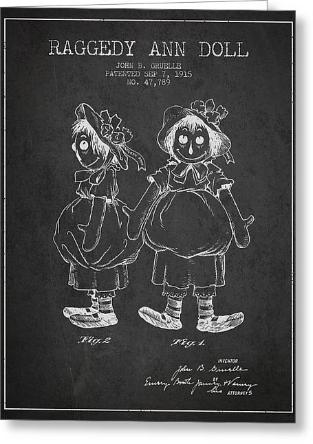 Vintage Dolls Greeting Cards - Raggedy Ann Doll patent from 1915 - Charcoal Greeting Card by Aged Pixel