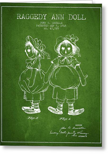 Vintage Dolls Greeting Cards - Raggedy Ann Doll patent from 1915 - Green Greeting Card by Aged Pixel