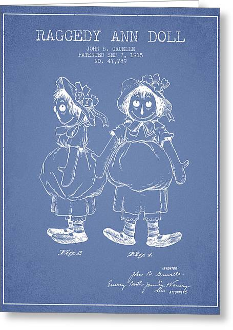 Vintage Dolls Greeting Cards - Raggedy Ann Doll patent from 1915 - Light Blue Greeting Card by Aged Pixel