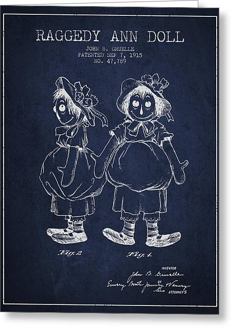 Vintage Dolls Greeting Cards - Raggedy Ann Doll patent from 1915 - Navy Blue Greeting Card by Aged Pixel