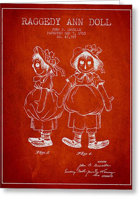 Vintage Dolls Greeting Cards - Raggedy Ann Doll patent from 1915 - Red Greeting Card by Aged Pixel