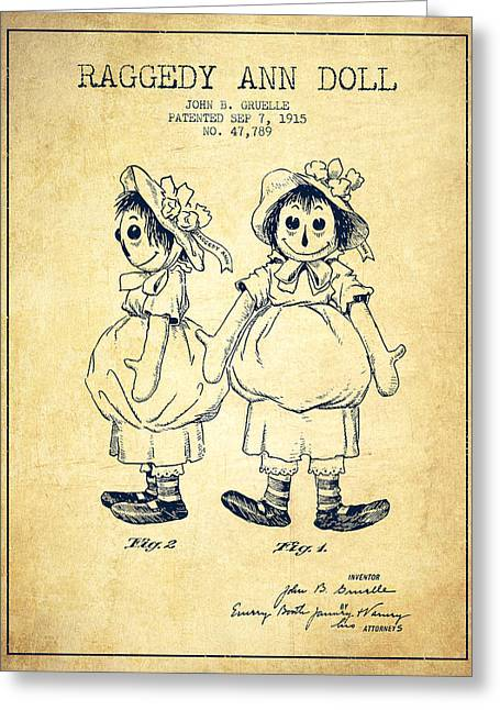 Vintage Dolls Greeting Cards - Raggedy Ann Doll patent from 1915 - Vintage Greeting Card by Aged Pixel