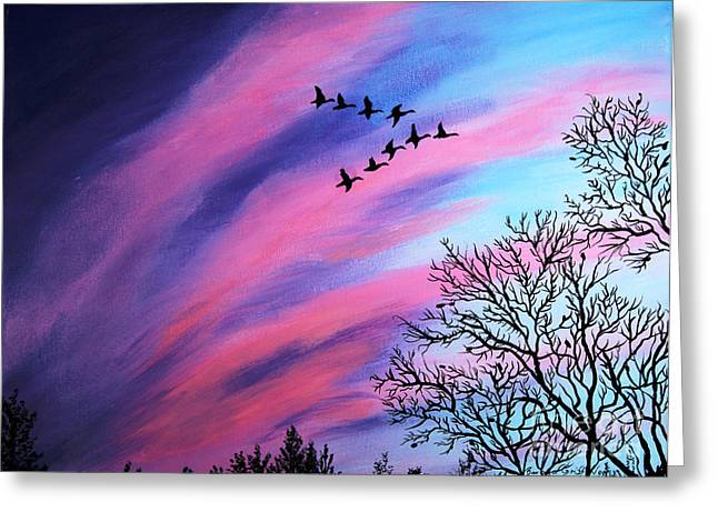 Colorful Cloud Formations Greeting Cards - Raging Sky and Canada Geese Greeting Card by Barbara Griffin