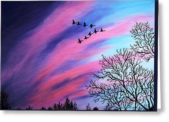 Colorful Cloud Formations Paintings Greeting Cards - Raging Sky and Canada Geese Greeting Card by Barbara Griffin