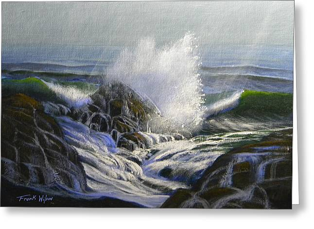 California Big Wave Surf Greeting Cards - Raging Surf Greeting Card by Frank Wilson