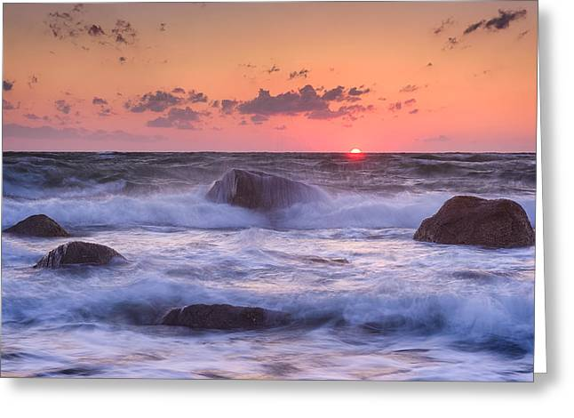 Falmouth Massachusetts Greeting Cards - Raging Surf Greeting Card by Michael Blanchette