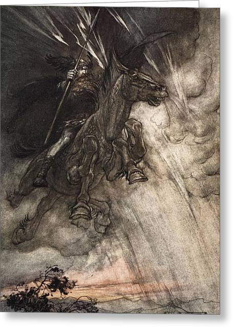 Storm Clouds Drawings Greeting Cards - Raging, Wotan Rides To The Rock! Like Greeting Card by Arthur Rackham