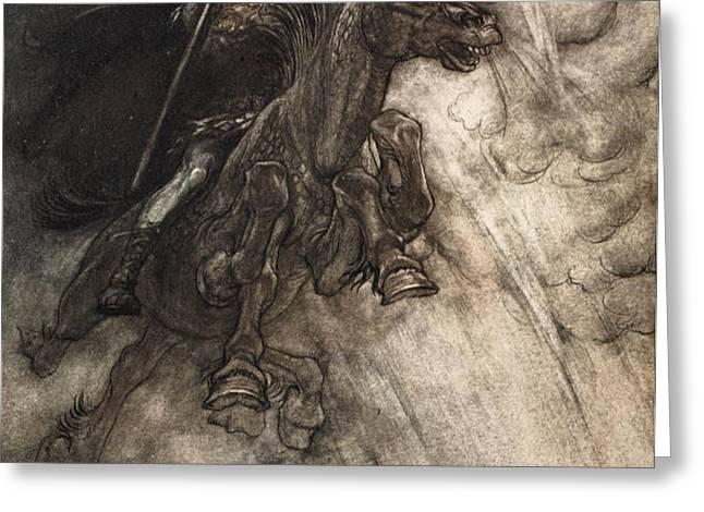 Raging, Wotan Rides To The Rock! Like Greeting Card by Arthur Rackham