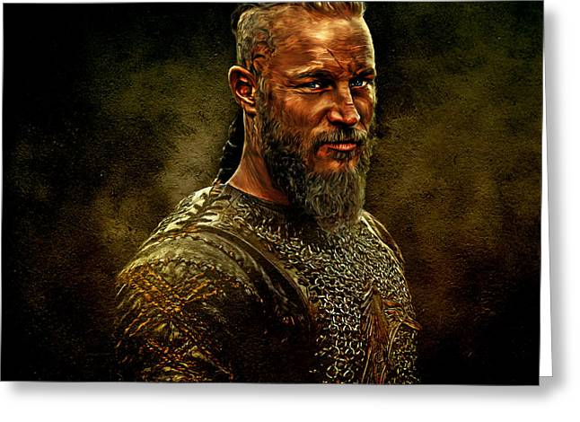 Fine Mixed Media Greeting Cards - Ragnar Lothbrok Digital Oil Portrait Greeting Card by Marian Voicu