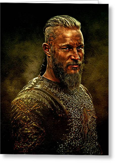 Oil Mixed Media Greeting Cards - Ragnar Lothbrok Digital Oil Portrait Greeting Card by Marian Voicu