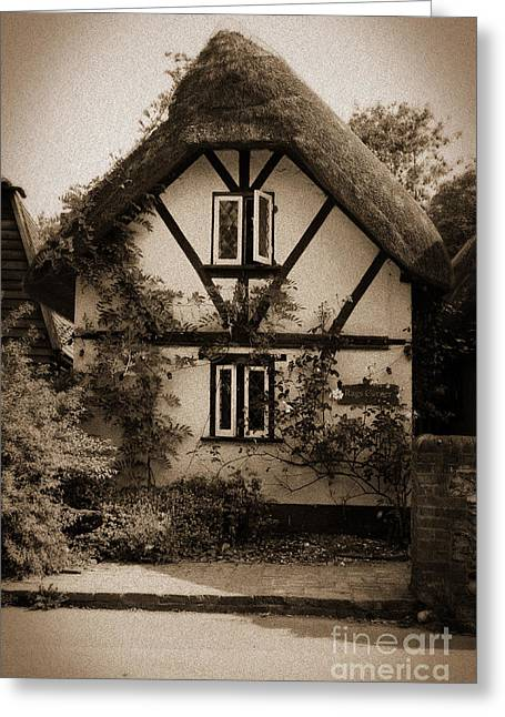 Terri Waters Greeting Cards - Rags Corner Cottage Nether Wallop Olde Sepia Greeting Card by Terri  Waters