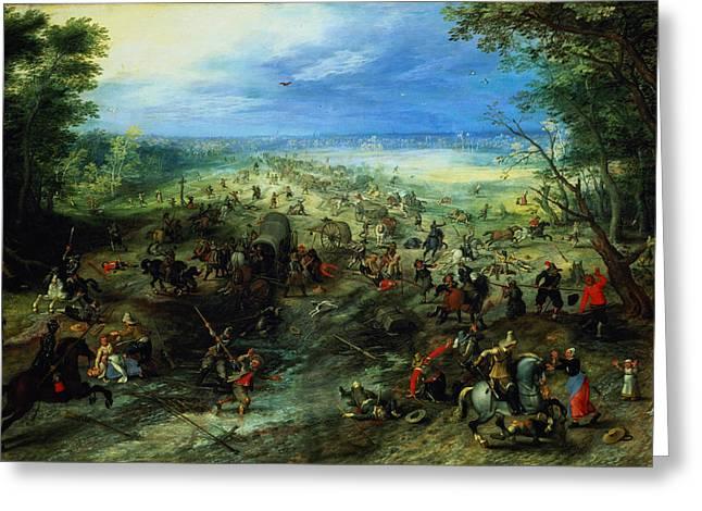 Gallows Greeting Cards - Raid On A Caravan Of Wagons, 1612 Greeting Card by Jan Brueghel