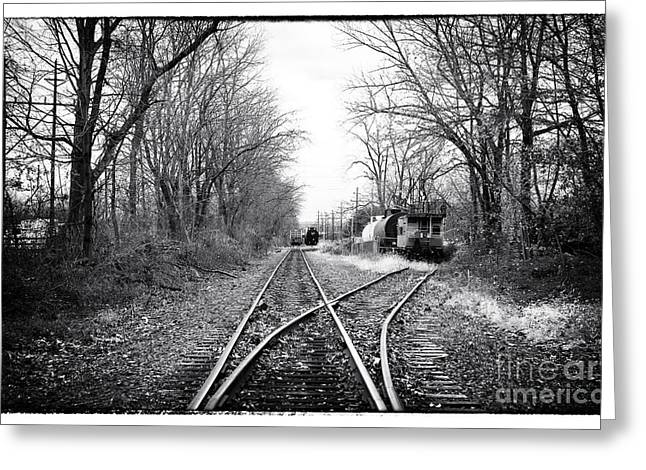 Black And White Train Track Prints Greeting Cards - Rail of Three Bridges Greeting Card by John Rizzuto