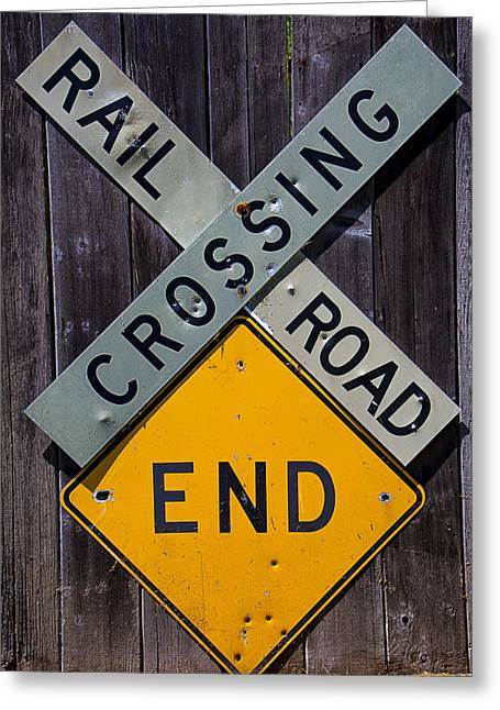 Rails Greeting Cards - Rail Road Crossing End sign Greeting Card by Garry Gay