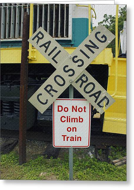 Rail Road Crossing Greeting Card by Laurie Perry