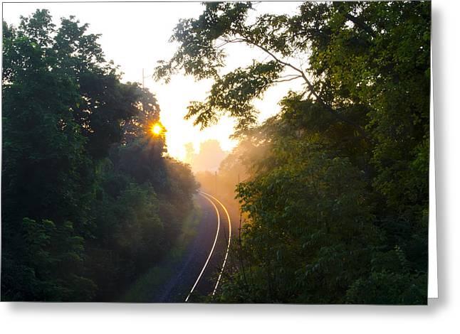 Rail Digital Art Greeting Cards - Rail Road Sunrise Greeting Card by Bill Cannon