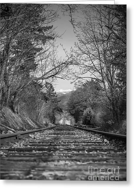 Black And White Train Track Prints Greeting Cards - Rail Road Tracks Greeting Card by Lucid Mood