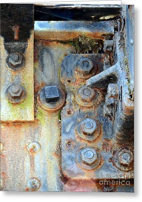 Patina Digital Art Greeting Cards - Rail Rust - Abstract - Nuts and Bolts Greeting Card by Janine Riley