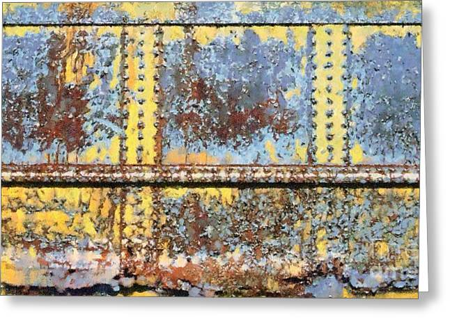 Rail Rust - Abstract - Yellow In 3 Greeting Card by Janine Riley