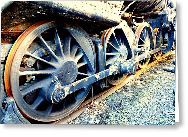 Locomotive Wheels Greeting Cards - Rail Rust - Locomotive - Wheels keep on turning Greeting Card by Janine Riley