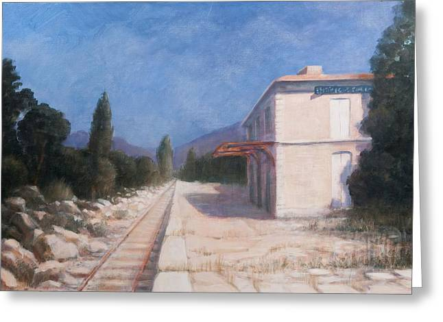 Stations Greeting Cards - Rail Station, Châteauneuf, 2012 Acrylic On Canvas Greeting Card by Lincoln Seligman