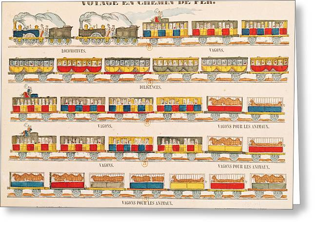 Railway Locomotive Greeting Cards - Rail Travel In 1845 Coloured Engraving Detail See Also 192826 Greeting Card by French School