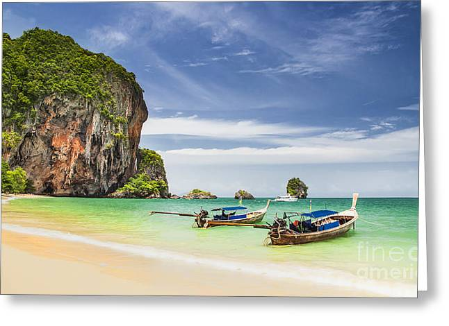 Thailand Greeting Cards - Railay beach Greeting Card by Anek Suwannaphoom