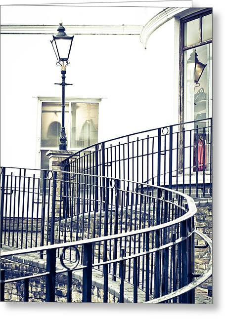 Stepping Stones Greeting Cards - Railings and lamp Greeting Card by Tom Gowanlock