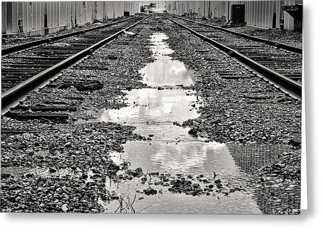 Industrial Background Greeting Cards - Railroad 5715BW Greeting Card by Rudy Umans