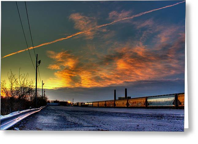 Rochester Artist Greeting Cards - Railroad at dawn Greeting Card by Tim Buisman