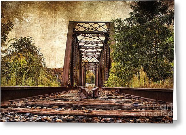 Railroad Ties Greeting Cards - Railroad Bridge 2 Greeting Card by Cindi Ressler