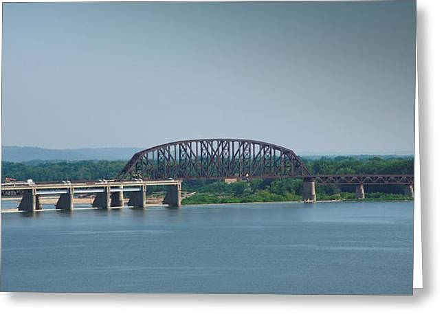 Railroads Framed Prints Greeting Cards - Railroad Bridge And Ohio River Greeting Card by Steven Ainsworth