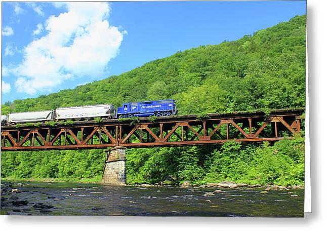 Shelburne Greeting Cards - Railroad Bridge at Bardwells Ferry Deerfield River Greeting Card by John Burk