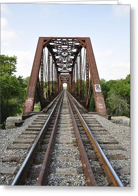 Angela Castillo Greeting Cards - Railroad Bridge Greeting Card by Cherie Haines