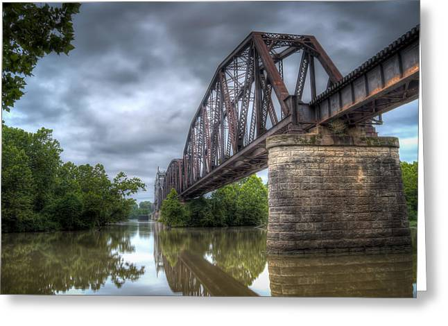 Railroad Bridge Greeting Card by James Barber