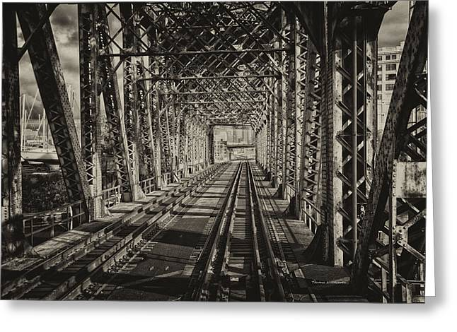 Windy City Mixed Media Greeting Cards - Railroad Bridge Metra South West Service Textured Sepia Greeting Card by Thomas Woolworth