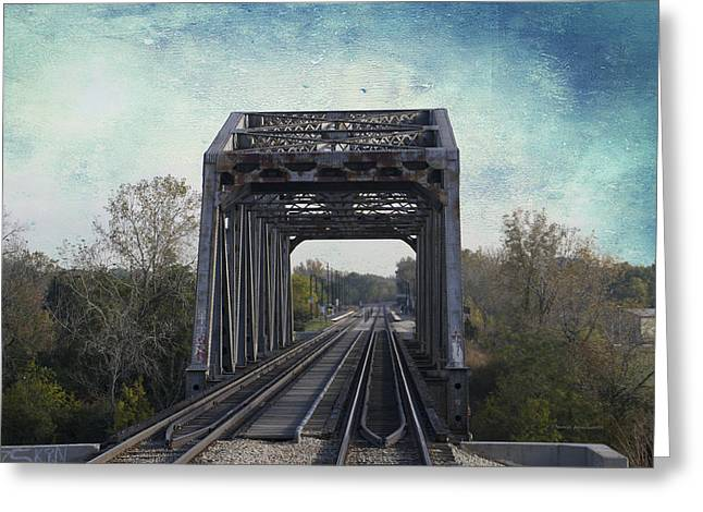 Windy City Mixed Media Greeting Cards - Railroad Bridge Metra South West Service Textured Greeting Card by Thomas Woolworth
