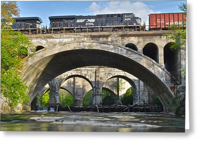 Old Caboose Greeting Cards - Railroad Bridges Greeting Card by Frozen in Time Fine Art Photography