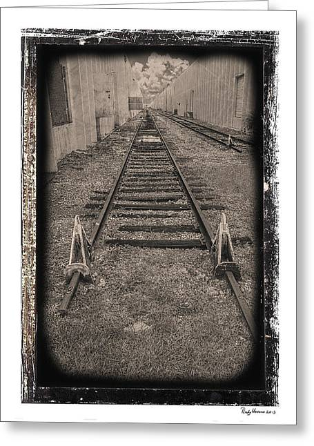 Gravel Road Greeting Cards - Railroad BW Greeting Card by Rudy Umans