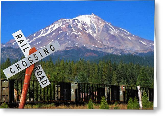 Railroad Crossing Greeting Cards - Railroad Crossing Greeting Card by Donna Kennedy