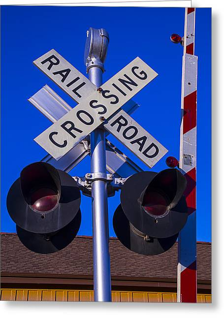 Railroad Greeting Cards - Railroad Crossing Greeting Card by Garry Gay