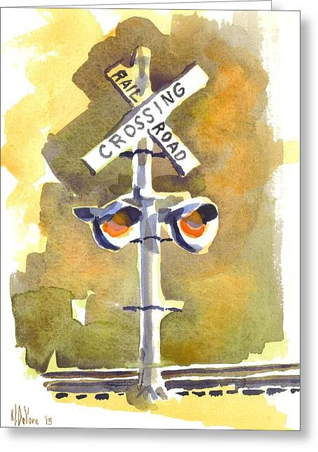 Train Crossing Greeting Cards - Railroad Crossing in Arcadia Greeting Card by Kip DeVore