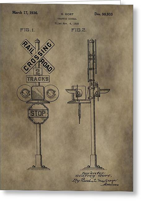 Railroad Crossing Greeting Cards - Railroad Crossing Patent Greeting Card by Dan Sproul