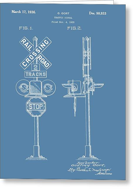 Railroad Crossing Greeting Cards - Railroad Crossing Patent On Blue Greeting Card by Dan Sproul