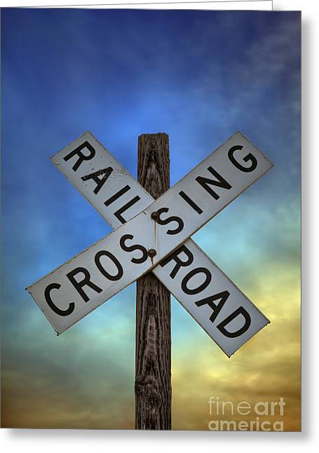 Wooden Train Print Greeting Cards - Railroad Crossing Sign Greeting Card by Brandon Alms